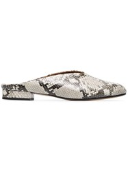 Atp Atelier Snake Albi Leather Mules Grey