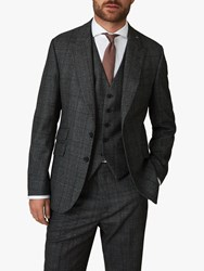 Jaeger Wool Mouline Check Regular Fit Suit Jacket Charcoal