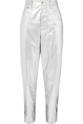 Isabel Marant Torsy Metallic Coated Cotton Tapered Pants Silver