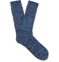 Anonymous Ism Melange Cotton Blend Socks Navy