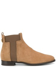 Tod's T Shaped Panel Suede Ankle Boots Neutrals