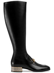 Gucci Horsebit Leather Knee Boot With Crystals Black