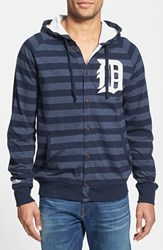 Men's Mitchell And Ness 'Tigers' Stripe Button Front Jersey Hoodie