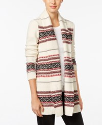 Styleandco. Style Co. Petite Jacquard Sweater Coat Only At Macy's Warm Ivory Combo