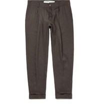 Off White Wide Leg Cropped Logo Embroidered Linen Trousers Brown