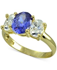 Giani Bernini Cubic Zirconia Three Stone Ring In 18K Gold Plated Sterling Silver Created For Macy's
