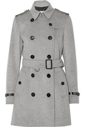 Burberry Leather Trimmed Wool And Cashmere Blend Trench Coat Gray