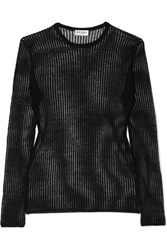 Saint Laurent Ribbed Linen And Silk Blend Top Black