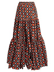 La Doublej Editions The Big Gathered Cotton Maxi Skirt Red White