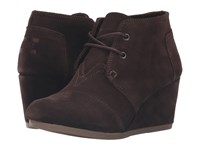 Toms Desert Wedge Chocolate Brown Suede Women's Wedge Shoes