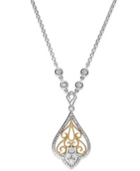 Macy's Diamond Antique Pendant Necklace In Sterling Silver And 14K Gold 1 10 Ct. T.W.