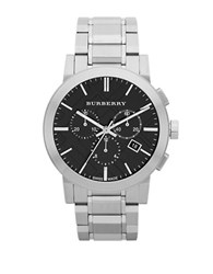 Burberry Mens Stainless Steel Chronograph Watch Silver