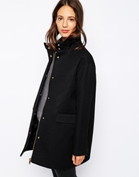 Pull And Bear Pullandbear Twill Zip Detail Coat Black