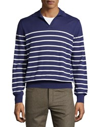 Luciano Barbera Striped Cotton Pullover Sweater Navy White