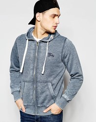 Tokyo Laundry Burnout Zip Through Hoodie Navy
