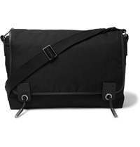 Lanvin Leather Trimmed Twill Messenger Bag Black
