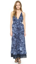 Thakoon Ruffle Front Long Dress Indigo