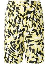 Marni Graphic Print Shorts Men Cotton Polyamide 46 Yellow Orange