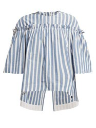 Golden Goose Deluxe Brand Ruffle Trimmed Striped Cotton And Silk Blend Top Blue Stripe