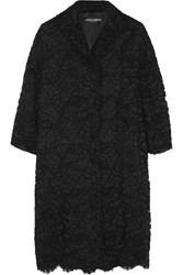 Dolce And Gabbana Guipure Lace And Silk Satin Coat Black