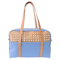 Spicer Bags Overnight Bag In Cork Dots With Sky Blue Canvas
