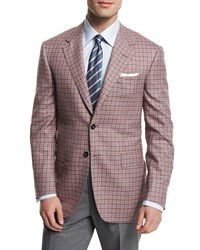 Oxxford Check Two Button Wool Sport Coat Red Gray Men's