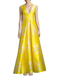 Monique Lhuillier Floral Jacquard Flared Gown Canary