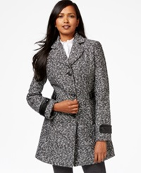 Inc International Concepts Faux Leather Trim A Line Tweed Coat Only At Macy's