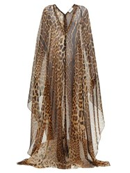 Saint Laurent Leopard Print Silk Mousseline Gown Leopard