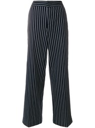 Moncler Chalk Stripe High Waist Trousers Blue