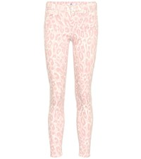 7 For All Mankind Leopard Mid Rise Skinny Jeans Pink