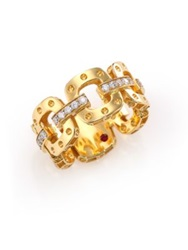 Roberto Coin Pois Moi Diamond And 18K Yellow Gold Chain Band Ring