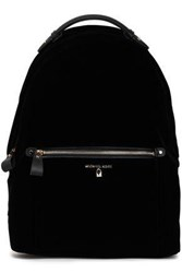 Michael Michael Kors Woman Faux Leather Trimmed Velvet Backpack Black
