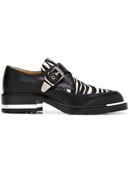 Barbara Bui Zebra Panel Buckled Loafers Black