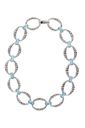 Lagos Venus Sterling Silver Turquoise Fluted Link Necklace Blue