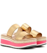 Prada Metallic Leather Platform Sandals Gold