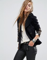 Denim And Supply Ralph Lauren By Jersey Pea Coat With Embroidered Sleeve Detail Black