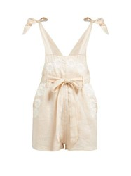 Innika Choo Floral Embroidered Linen Playsuit Pink