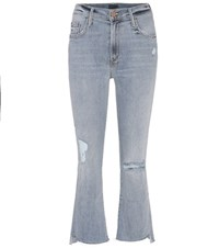 Mother Insider Cropped Flared Jeans Blue