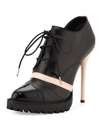 Leather High Heel Lace Up Bootie Black Teint Alexander Mcqueen