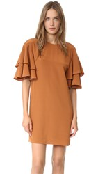 Tibi Ruffle Sleeve Shift Dress Amber Brown