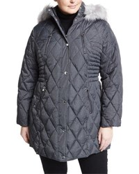 Laundry By Shelli Segal Quilted Puffer Coat W Detachable Hood Plus Size