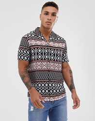 New Look Shirt In Abstract Print Black