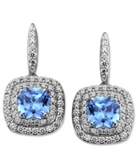 Arabella Sterling Silver Earrings Blue And White Swarovski Zirconia Cushion Cut Earrings 4 9 10 Ct. T.W.