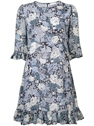 Ganni Floral Print Dress Blue