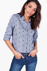 Boohoo Embroidered Gingham Boxy Tailored Shirt Blue