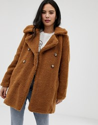 Qed London Double Breasted Maxi Teddy Coat Tan