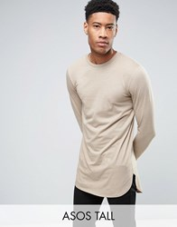 Asos Tall Super Longline Long Sleeve T Shirt With Curved Step Hem Silver Mink Grey