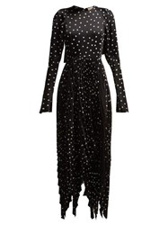 Khaite Greta Polka Dot Satin Crepe Dress Black