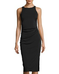 Tahari By Arthur S. Levine Jersey Side Ruched Midi Dress Black